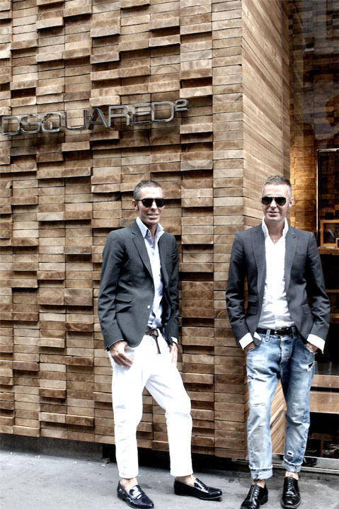 Dean and Dan Caten of Dsquared2 at their Boutique in Milan